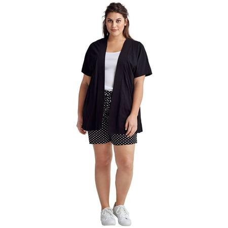 - Ellos Plus Size Short Sleeve Open Knit Cardigan