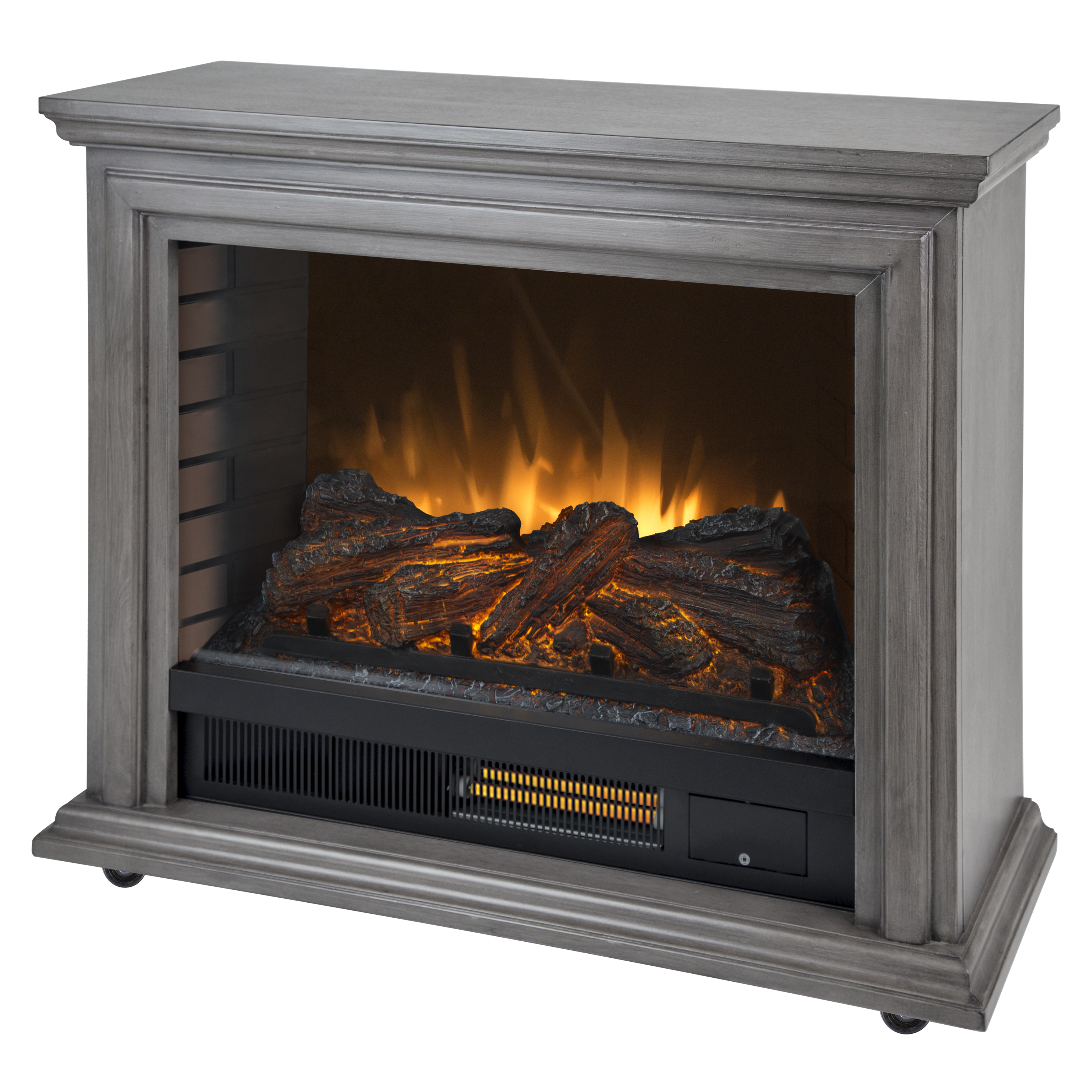 Captivating Pleasant Hearth Sheridan Mobile Infrared Fireplace   Dark Weathered Grey