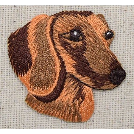 Dachshund Head - Dog - Pets - Doxie - Iron on Embroidered Patch Applique