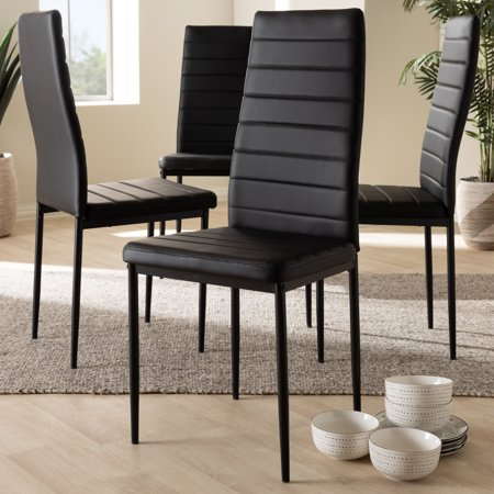 Set of 4 Baxton Studio Armand Modern and Contemporary Black Faux Leather Upholstered Dining Chairs 4 Upholstered Dining Chairs