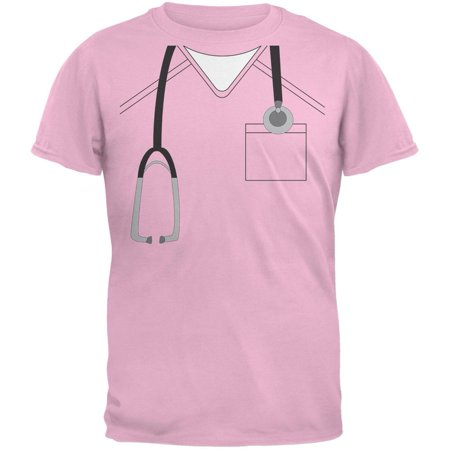 Halloween Doctor Scrubs Costume Light Pink Youth T-Shirt](Female Doctor Names For Halloween)