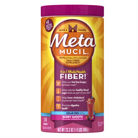 Metamucil Psyllium Fiber Supplement by Meta, #1 Doctor Recommended Fiber brand available in Sugar and Sugar-free powder mix, 23.3 oz.