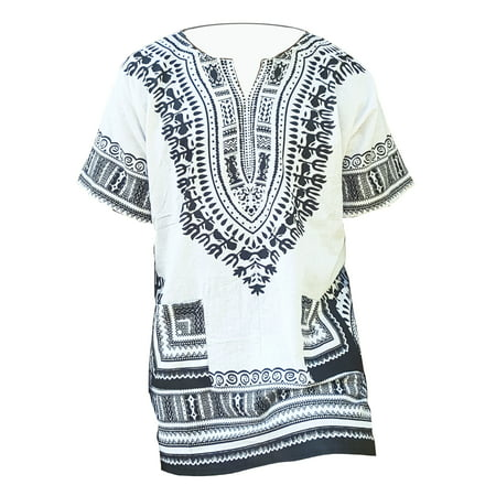 Africa Shirt (White and Black Traditional African Dashiki Shirt)