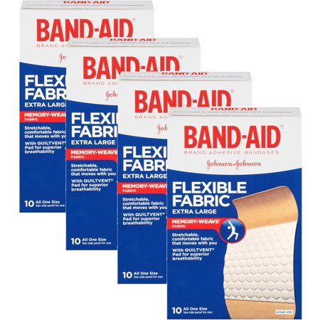 (4 Pack) Band-Aid Brand Flexible Fabric Adhesive Bandages, Extra Large, 10 ct ()