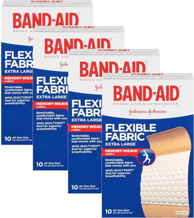 (2 Pack) Band-Aid Brand Flexible Fabric Adhesive Bandages, Extra Large, 10 ct