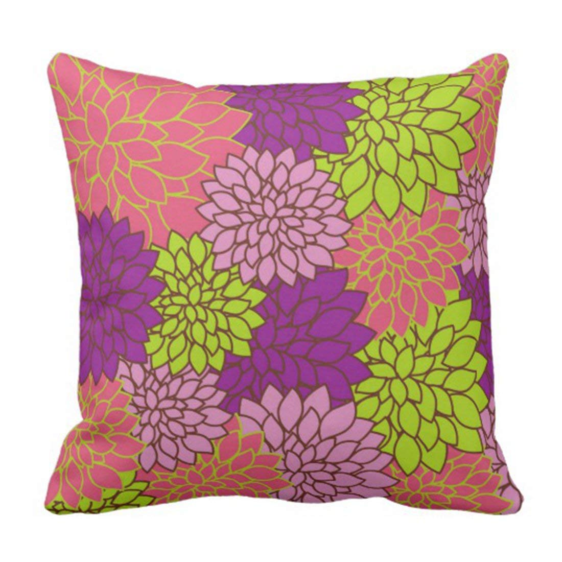 BPBOP Flowers Bold Floral in Lime Green Pink Purple Outside Pillowcase Cover 20x20 inch