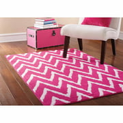 "Mainstays Distressed Zig Zag Pink/White 45""x66"" Indoor Area Rug"