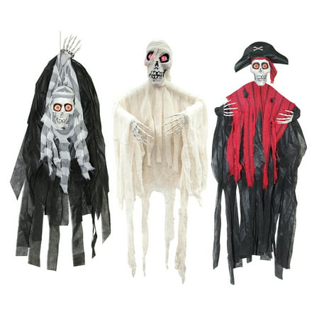 3 pc Set Peeper Reapers Battery Operated Hanging Light Up Skeleton Decorations