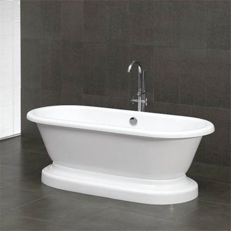 Inc ADEP-NH Acrylic Double Ended Pedestal Bathtub 70 x 30 in. with No Faucet Drillings