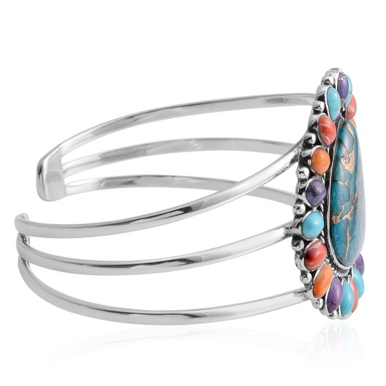 e52bfc44c Set in a designer frame of sterling silver, this cuff will make you look  classy and sophisticate at the same time. Santa Fe Style Blue Composite  Turquoise ...