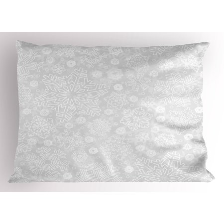 Winter Pillow Sham Seasonal Pattern with Festive Ornate Flakes Frost Blizzard Holiday Celebration, Decorative Standard Queen Size Printed Pillowcase, 30 X 20 Inches, Silver White, by (Best Dairy Queen Blizzard Combination)