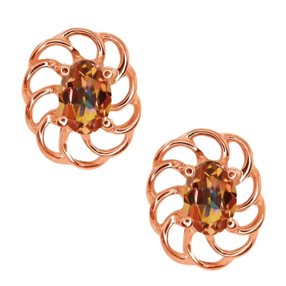 1.00 Ct Oval 6x4mm Ecstasy Mystic Topaz 18K Rose Gold Stud Earrings