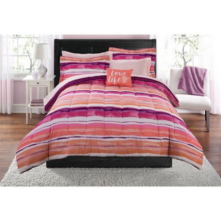 Mainstays Ombre Stripe Bed in a Bag Coordinating Bedding Set