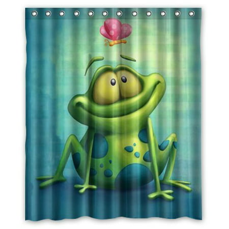 HelloDecor Frog Shower Curtain Polyester Fabric Bathroom Decorative Size 60x72 Inches
