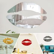 Wall Mirror Stickers Acrylic 3D Kiss Lip Art Mural Decal Home Decor Removable Stylish Dining Room Bedroom Kitchen Decor