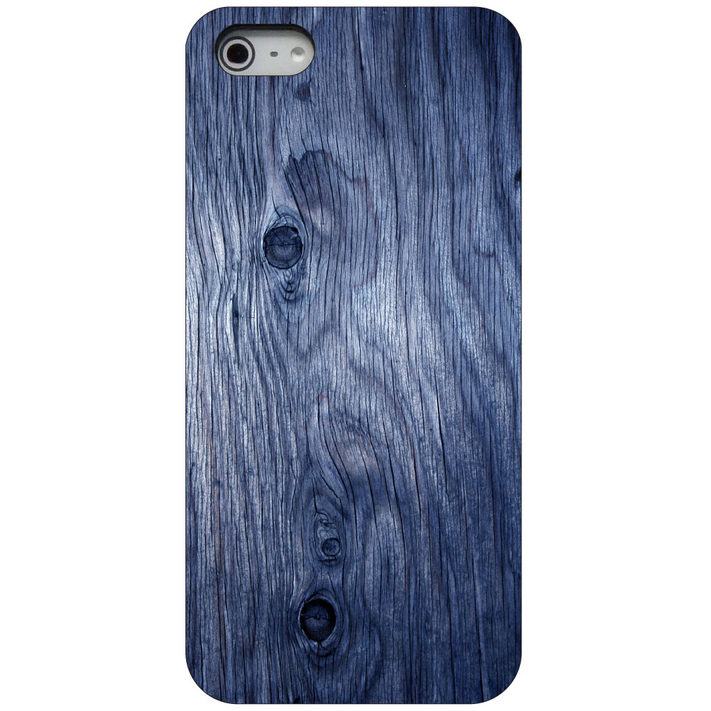 CUSTOM Black Hard Plastic Snap-On Case for Apple iPhone 5 / 5S / SE - Dark Blue Weathered Wood Grain