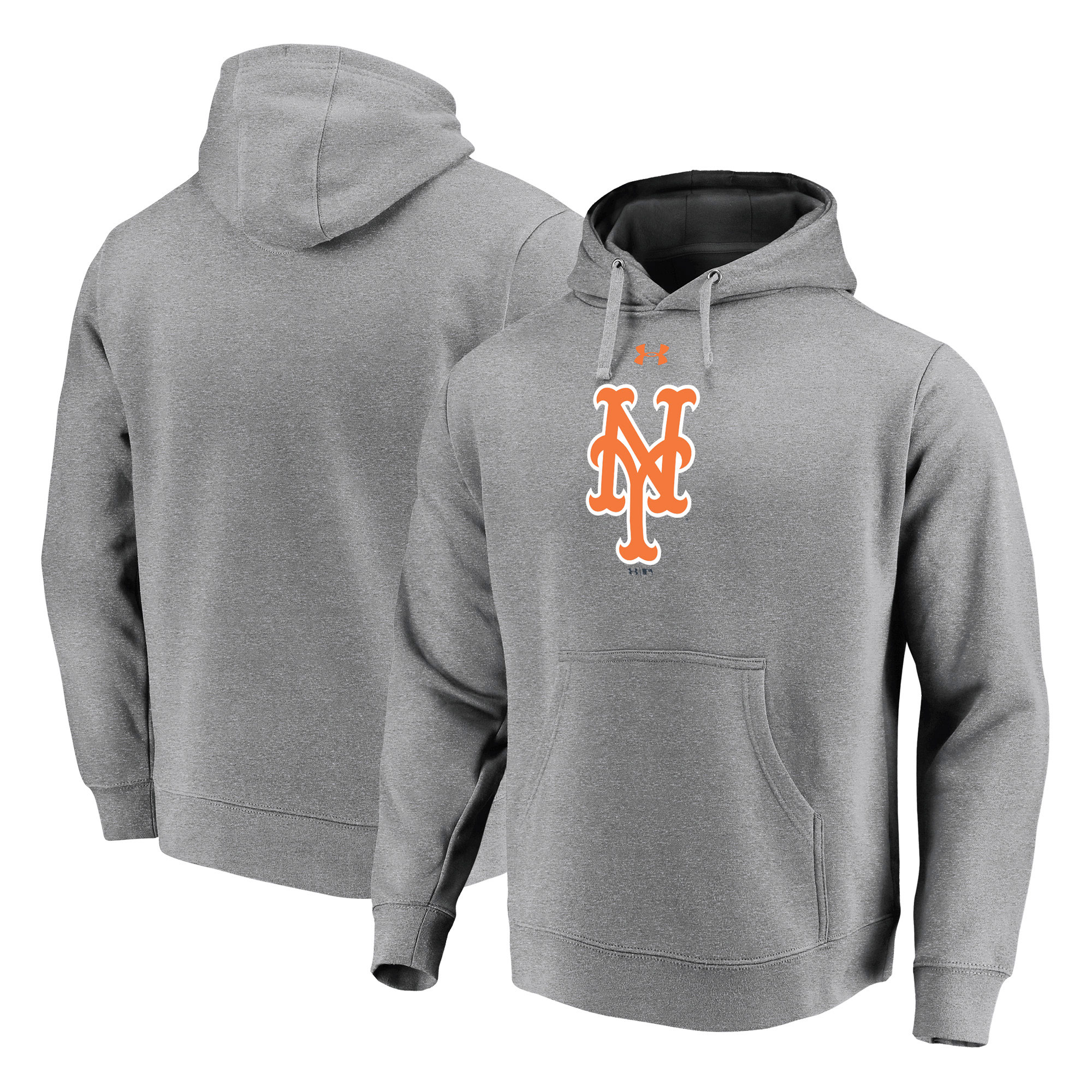 New York Mets Under Armour Commitment Team Mark Performance Pullover Hoodie - Heathered Gray