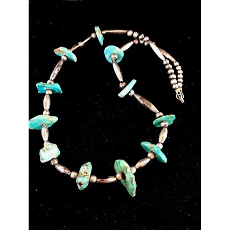 Navajo Old Pawn (Old Pawn Navajo Pearls Sterling Silver Chunky Turquoise Necklace)