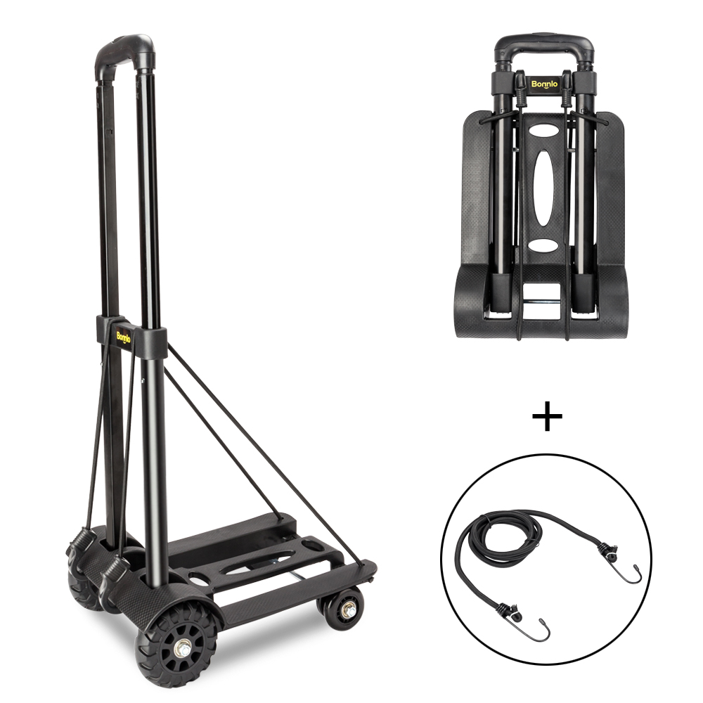 Zimtown 88lbs Folding Luggage Cart, Portable Heavy Duty Solid Construction Utility Moving Dolly Cart Hand Truck, Compact and Lightweight for Personal, Travel, Auto, Moving and Office Use, 4 Wheels