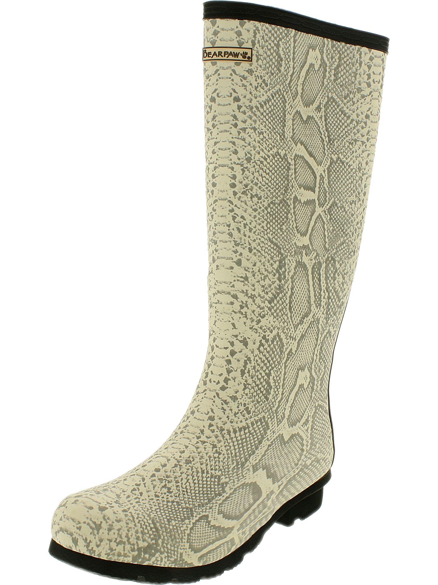 Bearpaw Women's Constance Natural Snake Print Knee-High Rubber Rain Boot 7M by Bearpaw