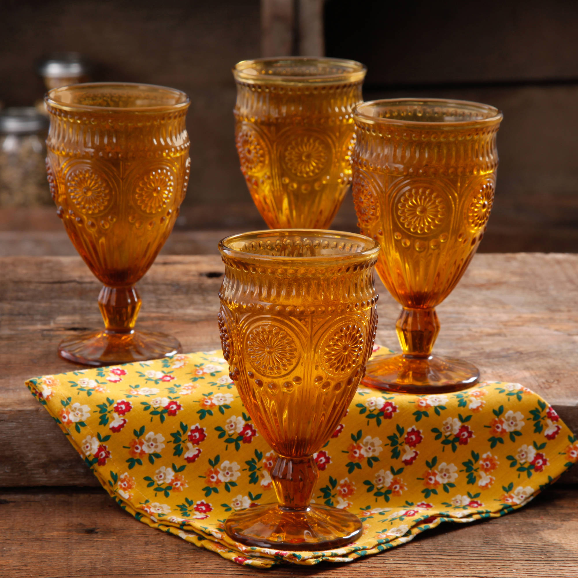 The Pioneer Woman 12-Ounce Amber Adeline Glass Goblet Set, 4-Pack
