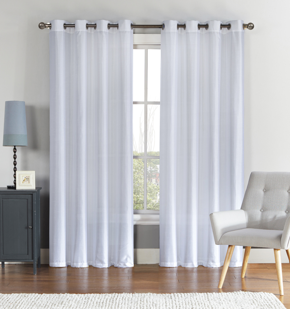 "Single (1) White Window Curtain Panel: Faux Silk, Silver Grommets, 55"" x 90"""