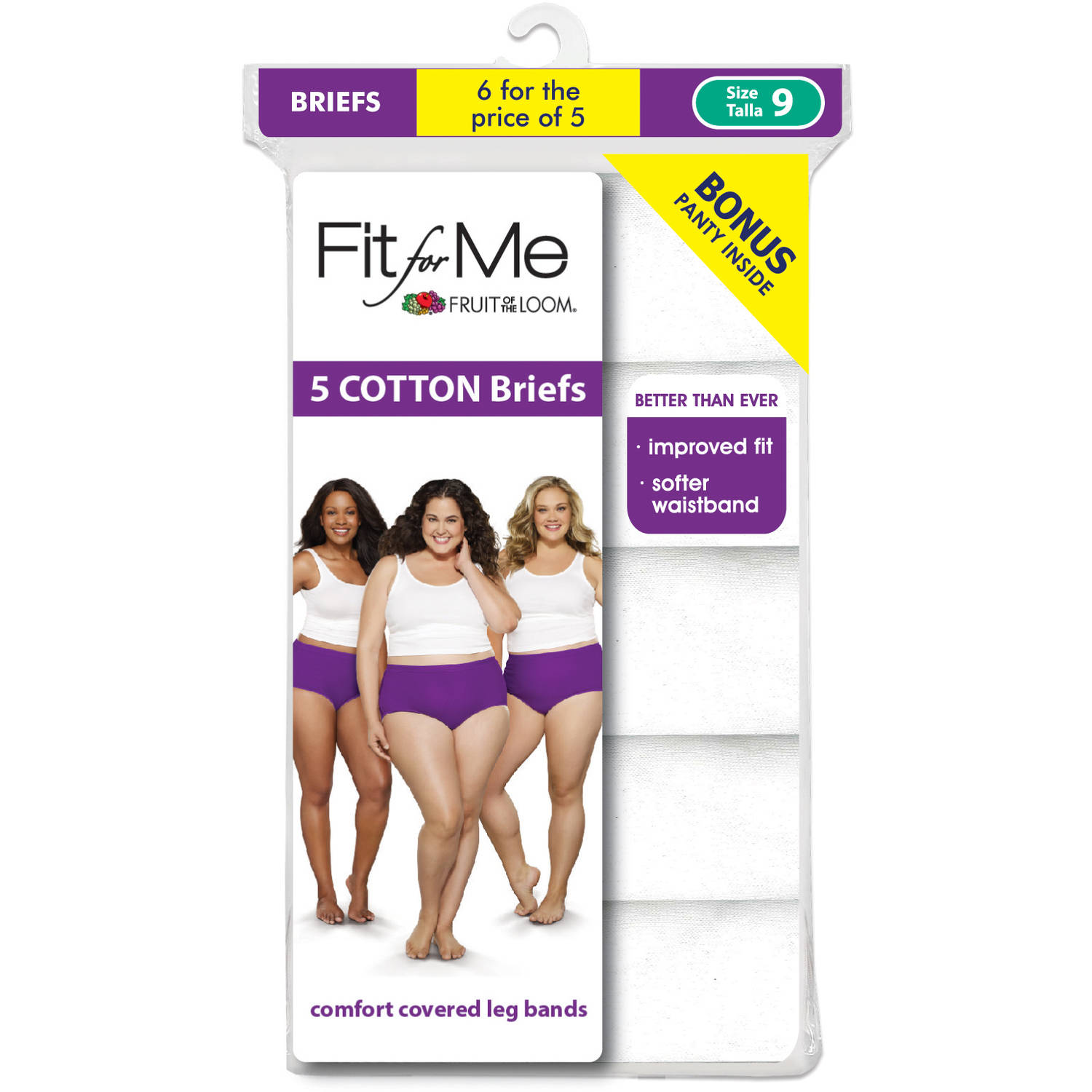 Fit for Me by Fruit of the Loom 5+1 bonus pack Cotton White Brief