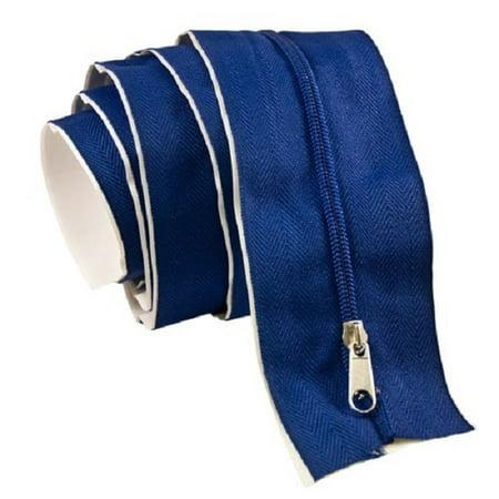 7'Ft Tarp Zip Up Zipper Door Peel & Stick Doorway BLUE