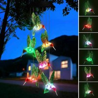 Solar Changing Wind Chime Light, EpicGadget Solar Powered Color-Changing LED Hanging Lamp Hummingbird Windchime Light for Outdoor Indoor Gardening Yard Pathway Decoration
