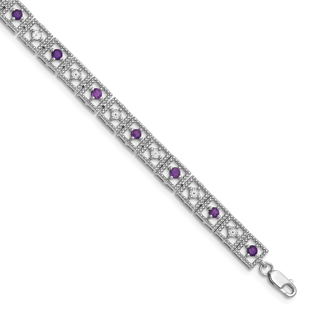 "Sterling Silver Simulated Amethyst Diamond Bracelet 7"" with Secure Lobster Lock Clasp (6mm) by AA Jewels"