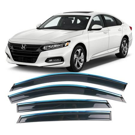All American Auto Dark Smoke w/ Chrome Trim Polycarbonate Side Window Deflector/Visor 4-Piece Set for 2018-2019 Honda Accord (Polycarbonate Visor)