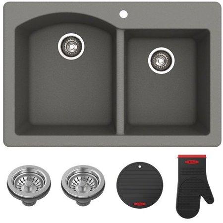 "KRAUS Forteza™ 33"" Dual Mount 60/40 Double Bowl Granite Kitchen Sink in Grey Bathroom Granite Double Sink"