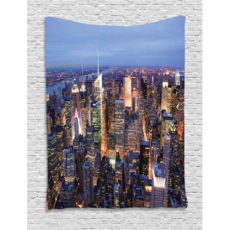 New York Tapestry, Aerial View of NYC Full of Skyscrapers Manhattan Times Square Famous Cityscape Panorama, Wall Hanging for Bedroom Living Room Dorm Decor, Blue, by Ambesonne