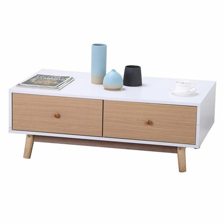Yaheetech Modern Coffee Table End Cabinet With Drawers Solid Wood Legs