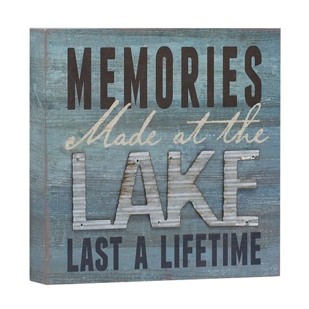 Barnyard Designs Memories at the Lake Last a Lifetime Box Wall Art Sign, Primitive Country Lake Home Decor Sign With Sayings 8