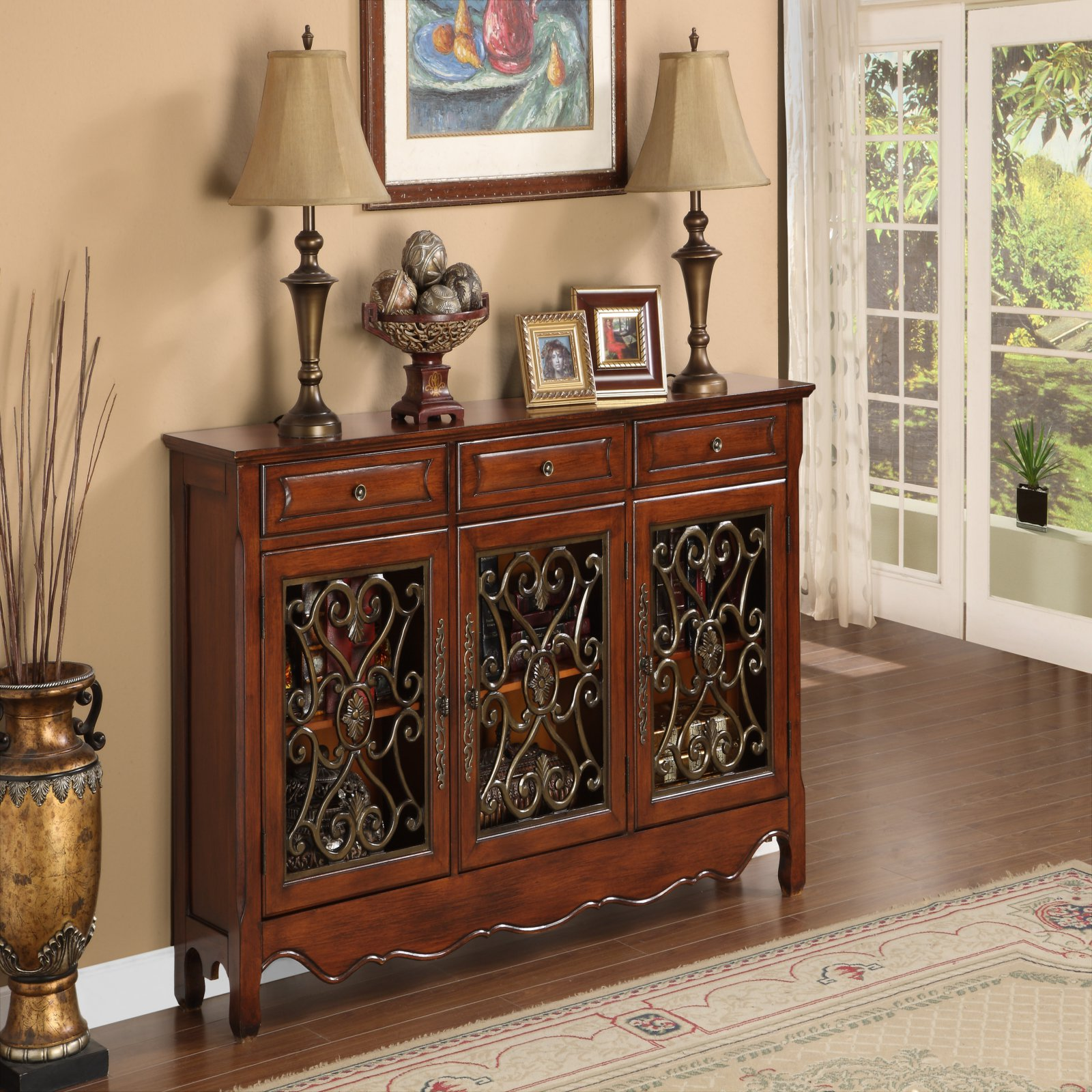 Powell 3 Door Scroll Console Walnut 246-335 by
