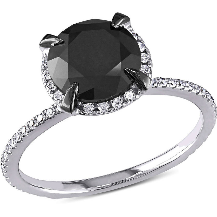 2-3/4 Carat T.W. Black and White Diamond 10kt White Gold Halo Engagement Ring