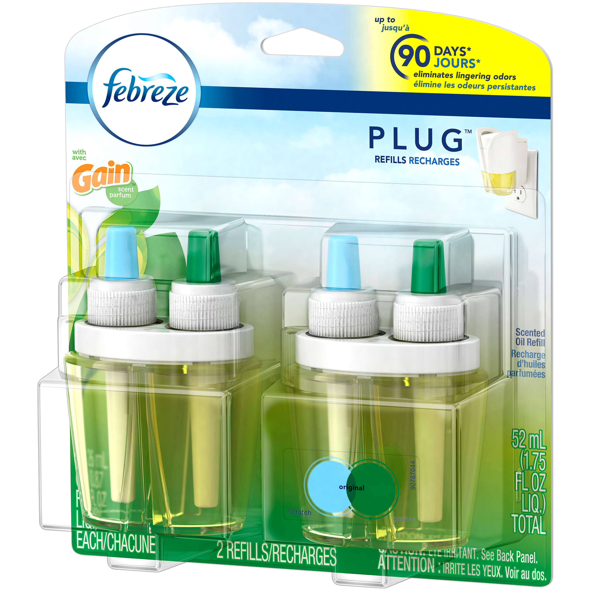 Febreze Plug In Scented Oil Air Freshener Refills, Gain Original Scent, 2 x 0.87 Fl Oz