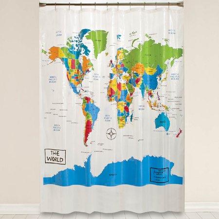 Saturday Knight LTD The World Shower Curtain (Fishing Shower Curtain By Saturday Knight Limited)