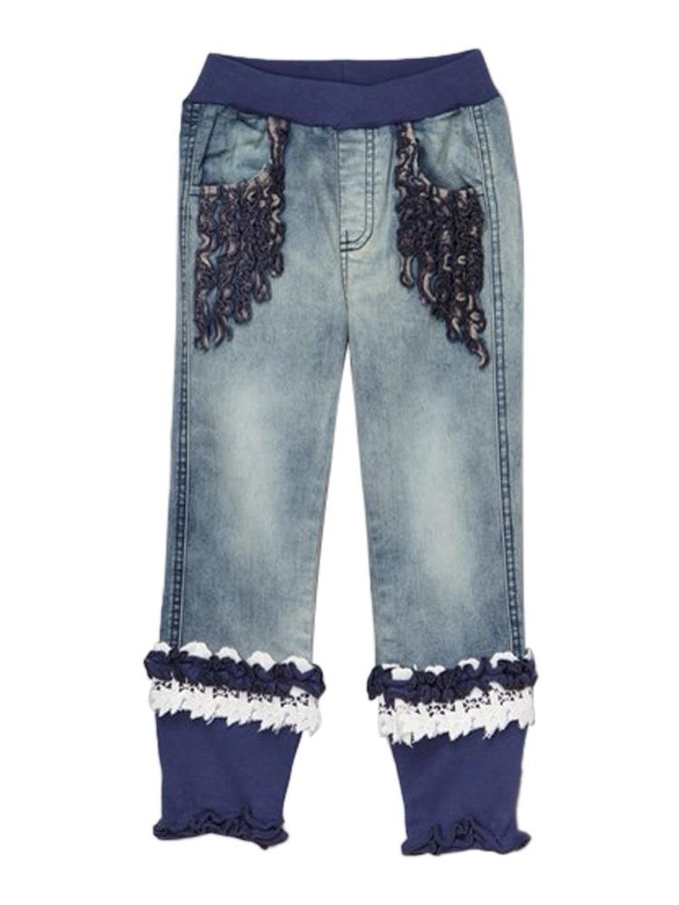 Rock'nStyle Baby Girls Blue Rusching Trim Owl Patch Denim Pants 18-24Mo