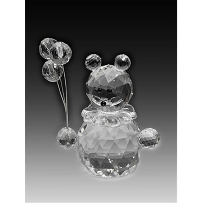 Asfour Crystal 201-2 1. 61 L x 2. 75 H inch Crystal Bear With Balloons Animals Figurines