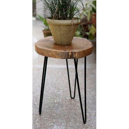 """IntradeGlobal Acacia Wood Live Edge Stool with Hairpin Legs, Natural Edge End Table,Wood Accent Side Table, Nightstand, Plant Stand 21.5"""" Tall (Set of 2)"""