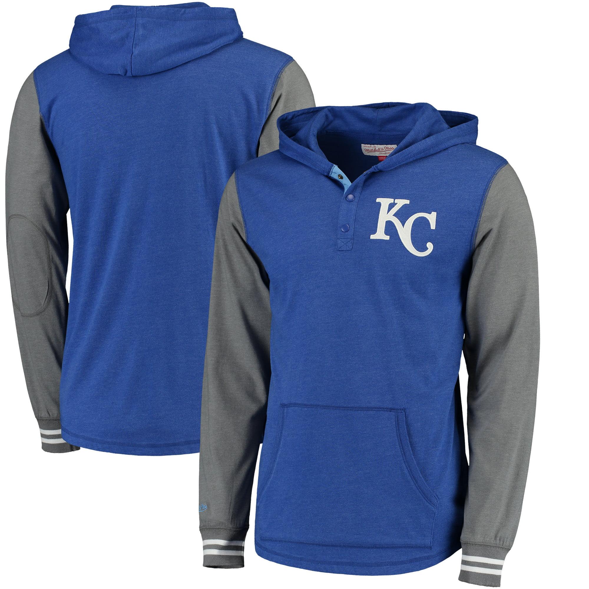 Kansas City Royals Mitchell & Ness MLB Mid-Season Long Sleeve Hoodie - Heathered Royal