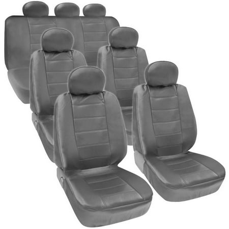 BDK PU Leather Seat Covers for SUV and Van 3 Rows Premium Leather Covers, Black Beige Gray