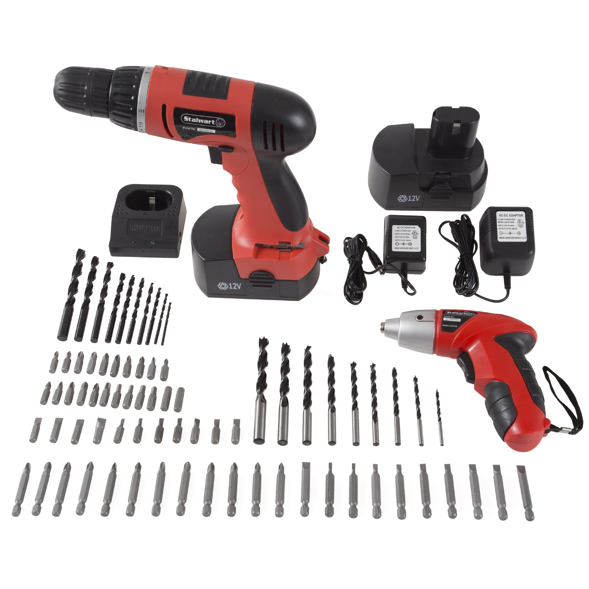 Stalwart W550005 12-Volt Cordless Drill and 3.6-Volt Driver with 74-Piece Project Kit