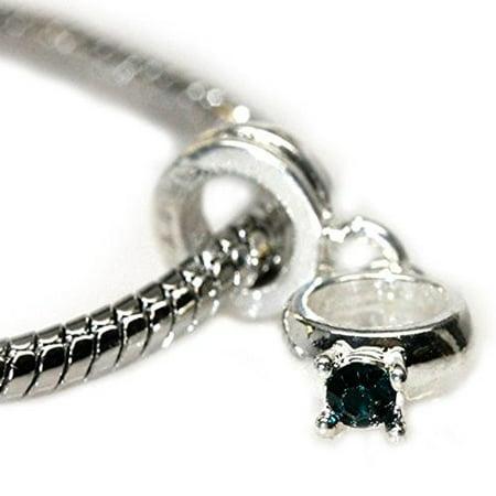 (Green  Rhinestone Engagement Ring Dangle Charm European Bead Compatible for Most European Snake Chain Bracelet)