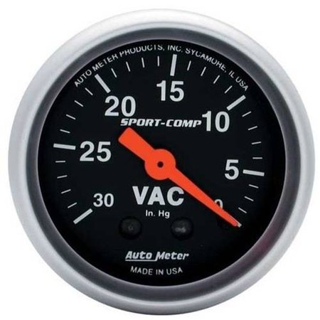 AUTO METER 3384 2IN VACUUM, 30 IN. HG, MECH, SPORT-COMP