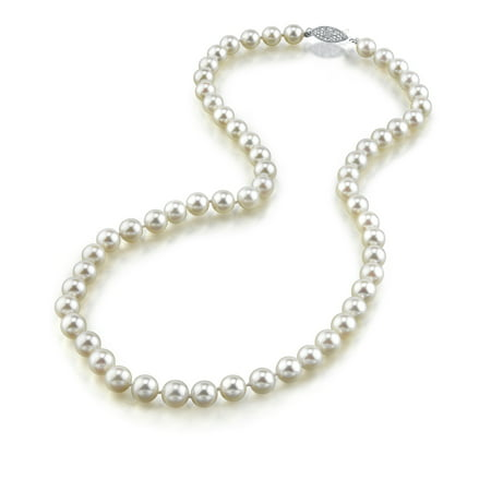 14K Gold 6.5-7.0mm Japanese Akoya Saltwater White Cultured Pearl Necklace - AA+ Quality, 18