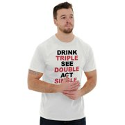 Beer Short Sleeve T-Shirt Tees Tshirts Drink Triple See Double Act Single Funny
