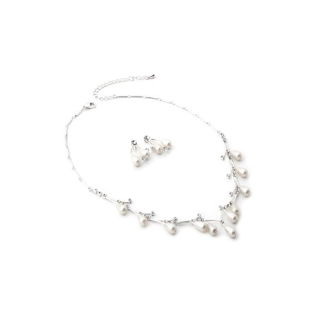 - Silver White Pearl Oval Set